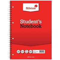 Silvine Student Spiral Wirebound Notebook, A4, Ruled, Punched, 120 Pages, Pack of 12