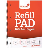 Silvine Sidebound Wire Lined Refill Pad A4 160 Pages (Pack of 6)