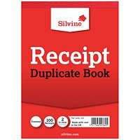 Silvine Duplicate Receipt Book 105x148mm Gummed (Pack of 12) 230