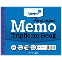 Silvine Carbonless Triplicate Memo Book 102x127mm (Pack of 5) 707