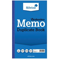 Silvine Carbonless Duplicate Memo Book 210x127mm (Pack of 6) 701-T