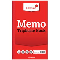 Silvine Triplicate Memo Book 210x127mm (Pack of 6) 605