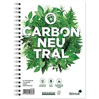 Silvine Carbon Neutral Notebook, A5, Ruled & Perforated, 2 Holes, 120 Pages, Pack of 5