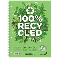 Silvine Premium Recycled Wirebound Notebook, A5, Ruled, 120 Pages, Pack of 5