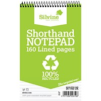 Silvine Recycled Wirebound Shorthand Notepad, 125x200mm, Ruled, 160 Pages, Pack of 12
