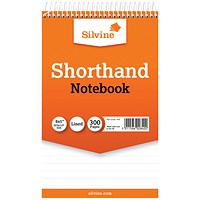 Silvine Ruled Spiral Bound Shorthand Notepad 127x203mm (Pack of 6)