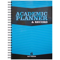 Silvine Teacher Academic Planner and Record, A4, 6 Day Period, Blue