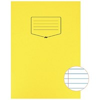Silvine Tough Shell A4 Exercise Book, Feint Ruled, Margin, Yellow, Pack of 25