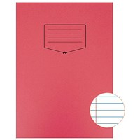 Silvine Tough Shell A4 Exercise Book, Feint Ruled, Margin, Red, Pack of 25