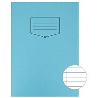 Silvine Tough Shell A4 Exercise Book, Feint Ruled, Margin, Blue, Pack of 25
