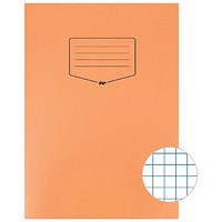 Silvine Tough Shell A4 Exercise Book, 7mm Squares, Orange, Pack of 25