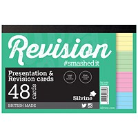 Silvine Revision Card Notepad 48 Card Multicolour (Pack of 20) CR51