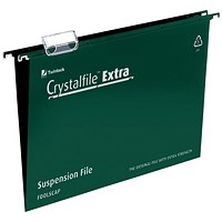 Rexel CrystalFiles Extra Suspension Files, V Base, 15mm Capacity, Foolscap, Green, Pack of 25