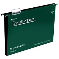 Rexel CrystalFiles Extra Suspension Files, Square Base, 30mm Capacity, Foolscap, Green, Pack of 25