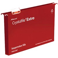Rexel CrystalFiles Extra Suspension Files, Square Base, 30mm Capacity, Foolscap, Red, Pack of 25