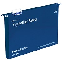 Rexel CrystalFiles Extra Suspension Files, Square Base, 30mm Capacity, Foolscap, Blue, Pack of 25