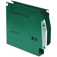 Rexel CrystalFile Extra Lateral Files, Plastic, 275mm Width, 50mm Square Base, Green, Pack of 25