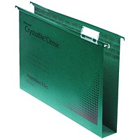 Rexel CrystalFiles Classic Suspension Files, Square Base, 30mm Capacity, Foolscap, Green, Pack of 50