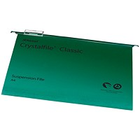 Rexel CrystalFiles Classic Suspension Files, V Base, 15mm Capacity, A4, Green, Pack of 50