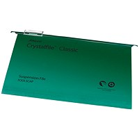 Rexel CrystalFiles Classic Suspension Files, V Base, 15mm Capacity, Foolscap, Green, Pack of 50