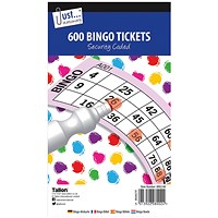 Just Stationery Jumbo Bingo Tickets 21 x 12cm (Pack of 12)