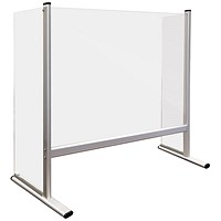 Counter and Desk Protection Screen with side panels, acrylic glass, 60 x 65 cm