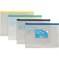 Sundry Clear Plastic A5 Coloured Zip Bags (Pack of 12)