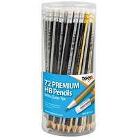 Tiger HB Eraser Tip Pencils Pot Assorted (Pack of 72)