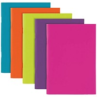 Polypropylene Covered Notebooks A5 40 Sheets Assorted (Pack of 10)
