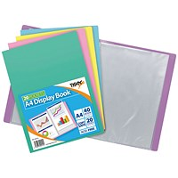 Display Book A4 20 Pocket Assorted Pastel (Pack of 10)