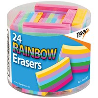 Rainbow Coloured Block Erasers (Pack of 24)
