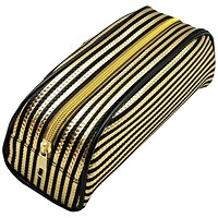 Metallic Striped Pencil Case Gold/Purple (Pack of 12)