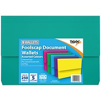 Card Document Wallets Assorted Foolscap (Pack of 12) 302396
