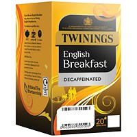 Twinings English Breakfast Decaffeinated Envelope Tea Bag Pk20x4