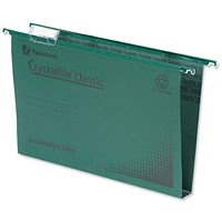 Rexel CrystalFiles Classic Suspension Files, Square Base, 30mm Capacity, A4, Green, Pack of 50