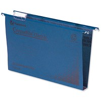 Rexel CrystalFiles Classic Suspension Files, Square Base, 30mm Capacity, Foolscap, Blue, Pack of 50