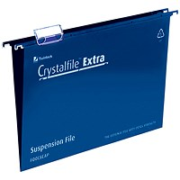 Rexel CrystalFiles Extra Suspension Files, V Base, 15mm Capacity, Foolscap, Blue, Pack of 25