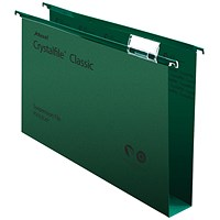Rexel CrystalFiles Classic Suspension Files, Square Base, 50mm Capacity, Foolscap, Green, Pack of 50