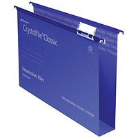 Rexel CrystalFiles Classic Suspension Files, Square Base, 50mm Capacity, Foolscap, Blue, Pack of 50
