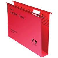 Rexel CrystalFiles Classic Suspension Files, Square Base, 50mm Capacity, Foolscap, Red, Pack of 50