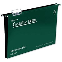 Rexel CrystalFiles Extra Suspension Files, Square Base, 30mm Capacity, A4, Green, Pack of 25