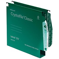Rexel CrystalFile Classic Lateral Files, 275mm Width, 50mm Square Base, Green, Pack of 50