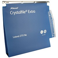 Rexel Crystalfile Extra 50mm Lateral File Blue (Pack of 25)