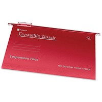 Rexel CrystalFiles Classic Suspension Files, V Base, 15mm Capacity, Foolscap, Red, Pack of 50