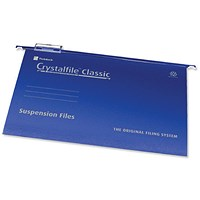 Rexel CrystalFiles Classic Suspension Files, V Base, 15mm Capacity, Foolscap, Blue, Pack of 50