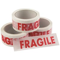 Fragile Tape 50mmx33m 1 Roll Ultra Red/White (Pack of 6) FRAG-5033-UL1