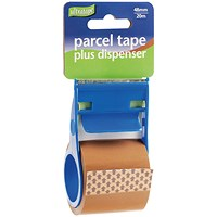Parcel Tape and Dispenser 48mmx20m Buff (Pack of 12) RT0808-48X20