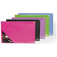 Stewart A4 Popper Wallet Landscape Assorted (Pack of 5)