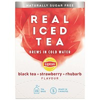 Lipton Cold Brew Black Tea Strawberry and Rhubarb - 15 Bags