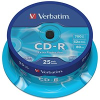 Verbatim CD-R Datalife Non-AZO 52x 700MB (Pack of 25)